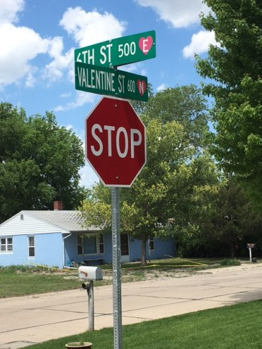 Valentine NE Street Sign