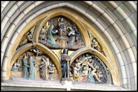 Carving above front door