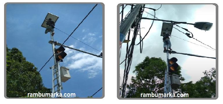 warning light solar, jual traffic light, rambumarka
