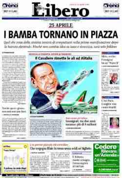 La prima pagina di Libero del 24 aprile 2008