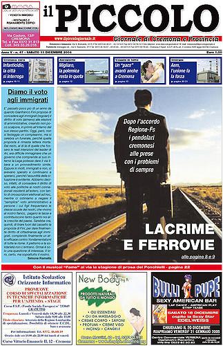 Copertina del Piccolo Giornale dell'11 dicembre 2004