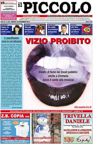 Copertina del Piccolo Giornale del 18 dicembre 2004