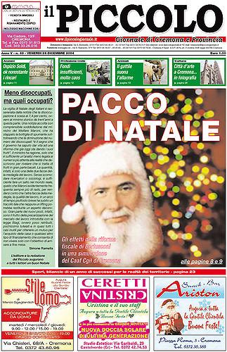 Copertina del Piccolo Giornale del 24 dicembre 2004