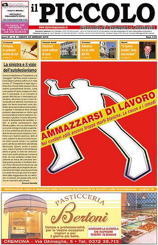 Copertina del Piccolo Giornale del 22 gennaio 2005