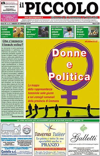 Copertina del Piccolo Giornale del 29 gennaio 2005