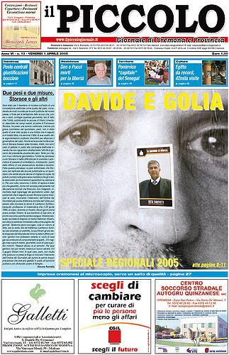 Copertina del Piccolo Giornale dell'1 aprile 2005