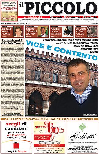 Copertina del Piccolo Giornale del 6 agosto 2005