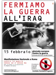 Il manifesto ufficiale della manifestazione contro la guerra del 15 febbraio 2003