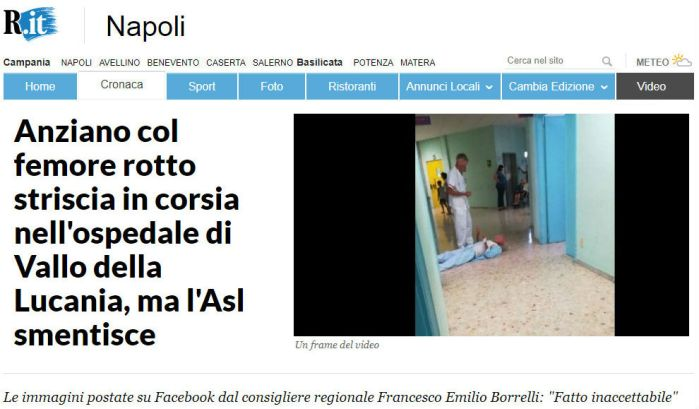 L'articolo di Repubblica.it sul presunto caso di malasanità nell'ospedale di Vallo della Lucania