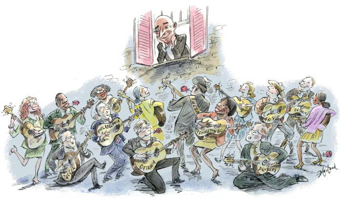 La serenata dei sindaci Usa al capo di Amazon, Jeff Bezos, nell'illustrazione di Gary Hovland per il New York Times