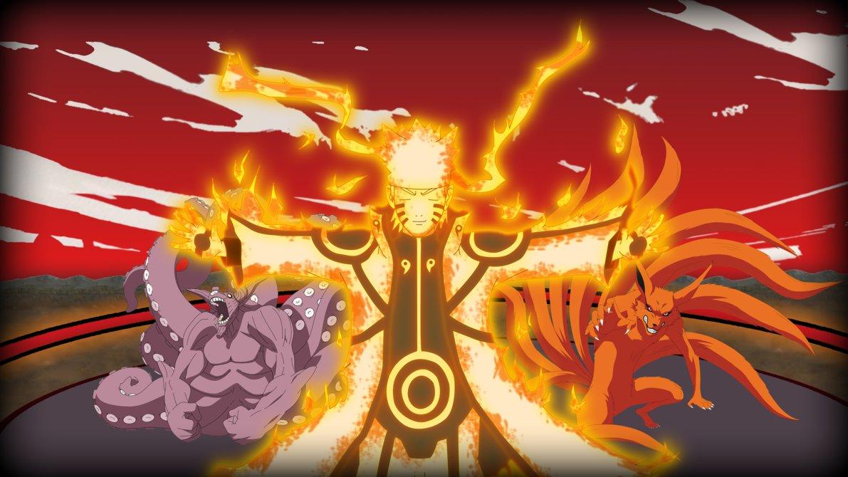 naruto and kurama bijuu mode wallpaper