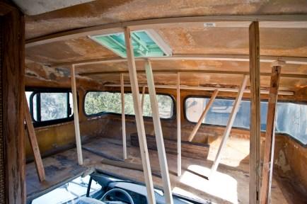 Installing roof support for sagging fiberglass.