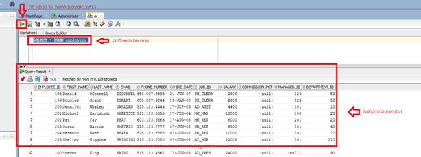 SQL Developer - בדיקת תקינות יוזר HR