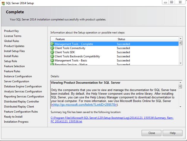 התקנת SQL SERVER - הודעת סיום