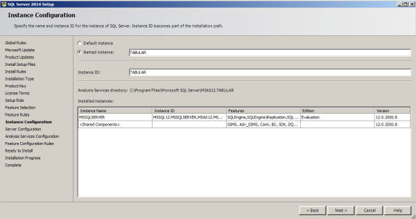 installing tabular model step 9