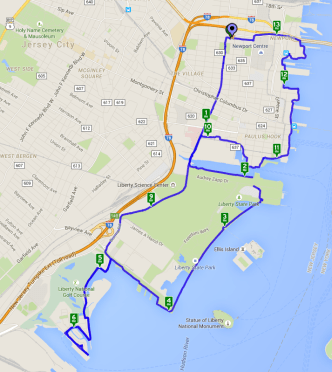Map of Bike Ride along Jersey City Waterfront