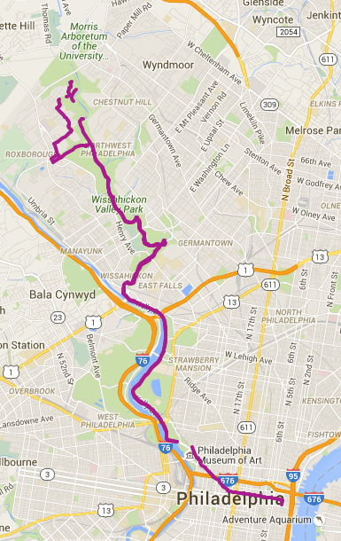 Philadelphia Bike ride from Old City to Wissahickon Park.