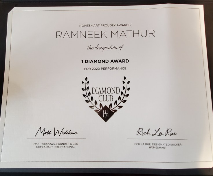 Certificate showing Diamond Award Recipient Ramneek Mathur RealtorAard
