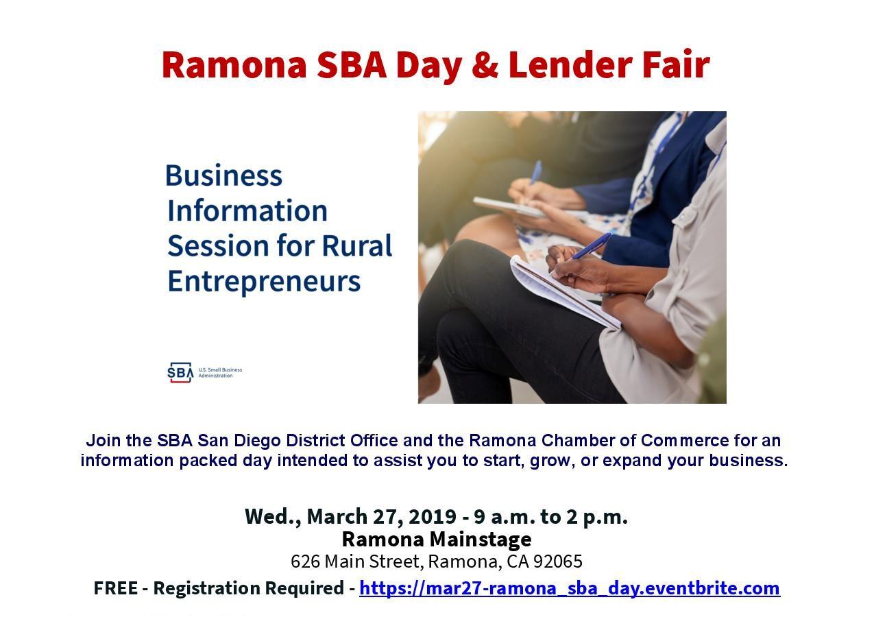 Ramona SBA Day & Lender Fair | Ramona Events