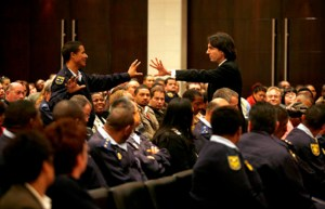 Dr John Demartini embraces Police Officer in Cape Town