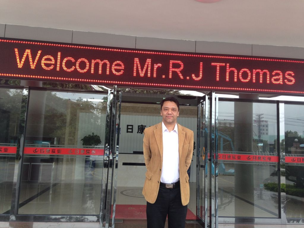 Ramon Thomas outisde Chinese company in DongGuan, Guangdong China