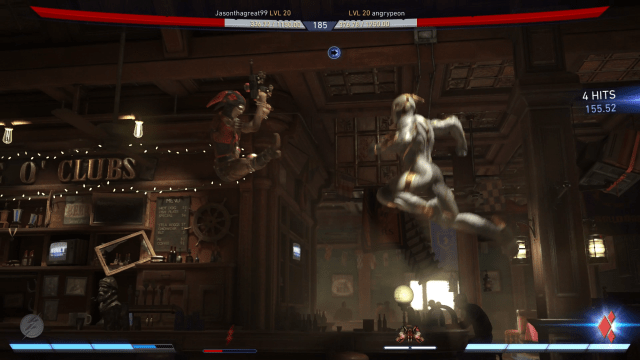 Two fighters fly through the air at each other