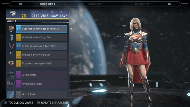 Gear screen for Supergirl