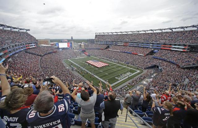 A stadium full of NFL fans cheer the pre-game ceremonies during Week 2's game of the 2017 season.