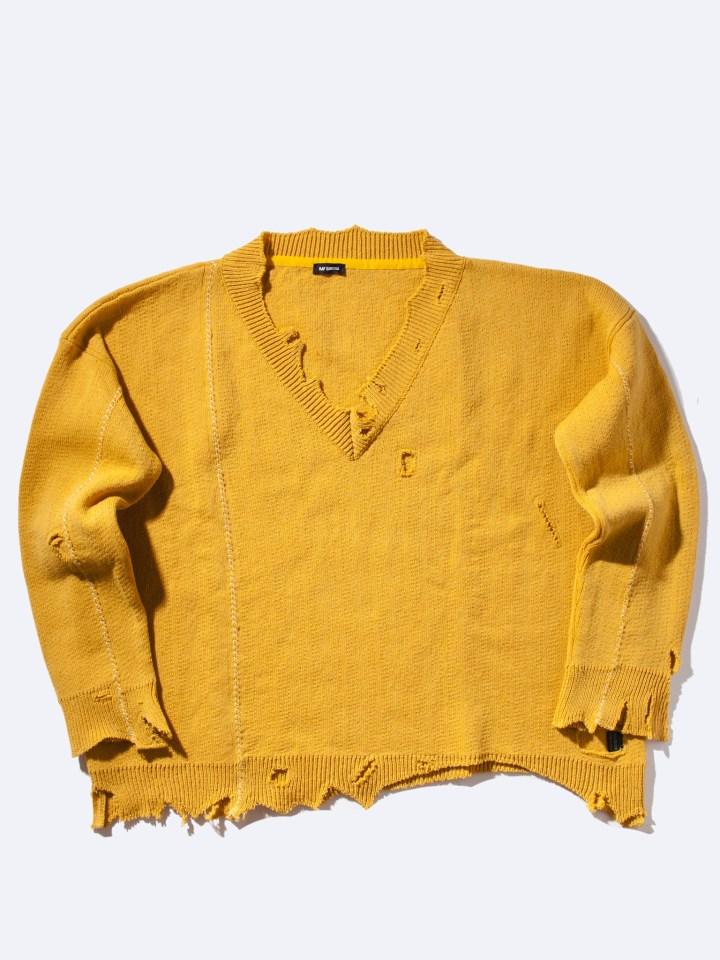 RAF_SIMONS_Oversized_Destroyed_V-Neck_Knit_Sweater_Yellow