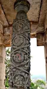 A carved stone pillar