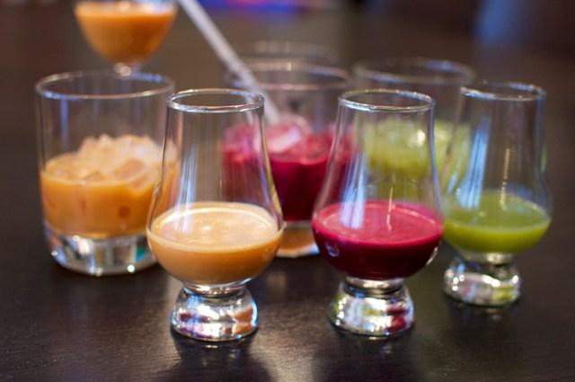 juice in glasses