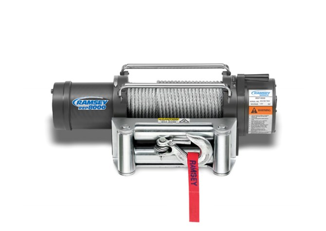 rep 8000 12 volt electric winch with roller fairlead