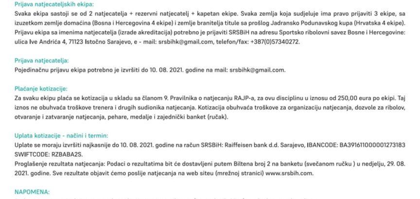 """NAJAVA: 12. Kup Jadransko-podunavskih zemalja u disciplini """"Lov šarana i amura"""""""