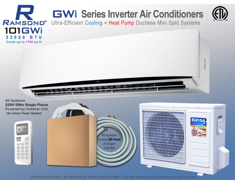 Ramsond 101GWi Inverter Ductless Mini Split AC + Heat Pump