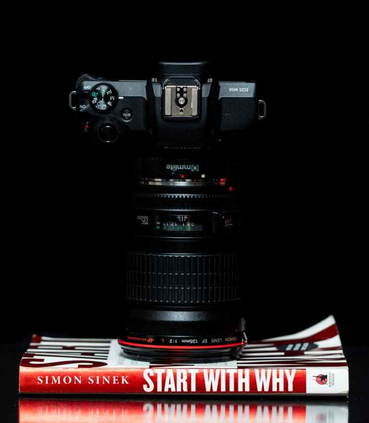 black dslr camera on start with why by simon siner book