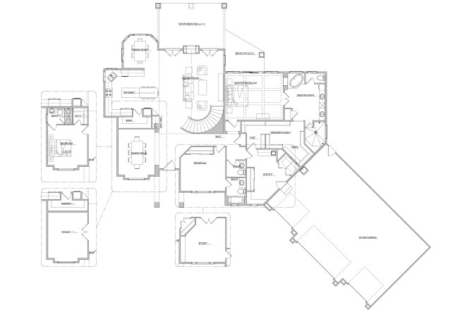 Telluride Ranch Plan with Optional Curved Staircase