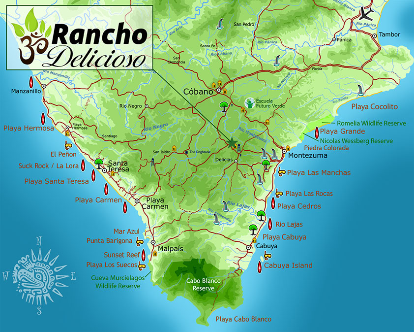Map of the Southern Nicoya Peninsula of Costa Rica, showing the location of Rancho Delicioso Eco Village and Sustainable Learning Center