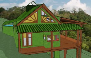 Tropical greenbuilding example from Pura Vida Sunsets Eco Village project in Montezuma