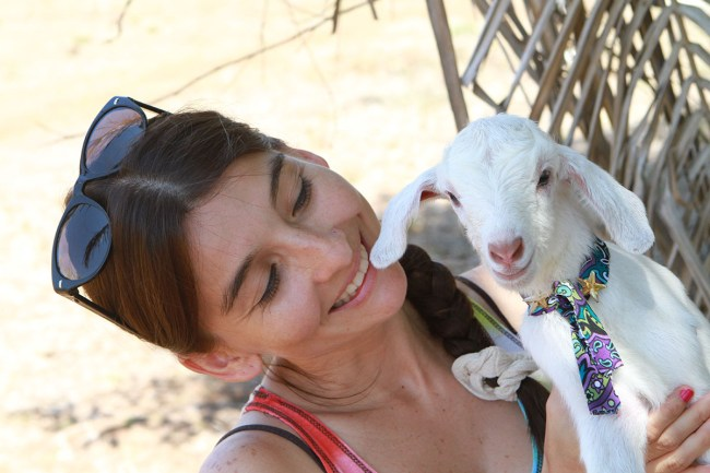 Yasmin with Baby Goat