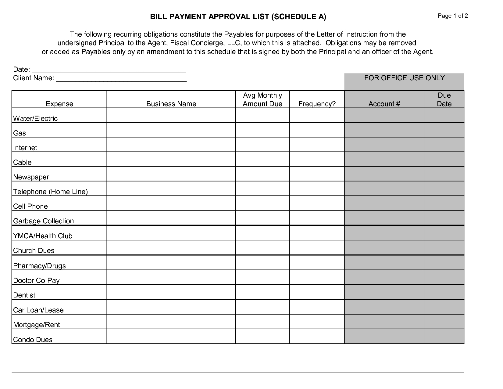 Free Printable Monthly Bill Payment Calendar Template
