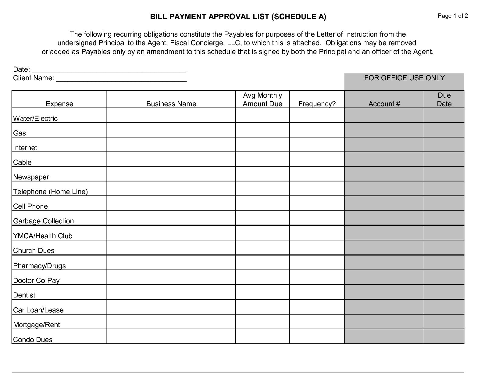 Bill Paying Worksheet Template