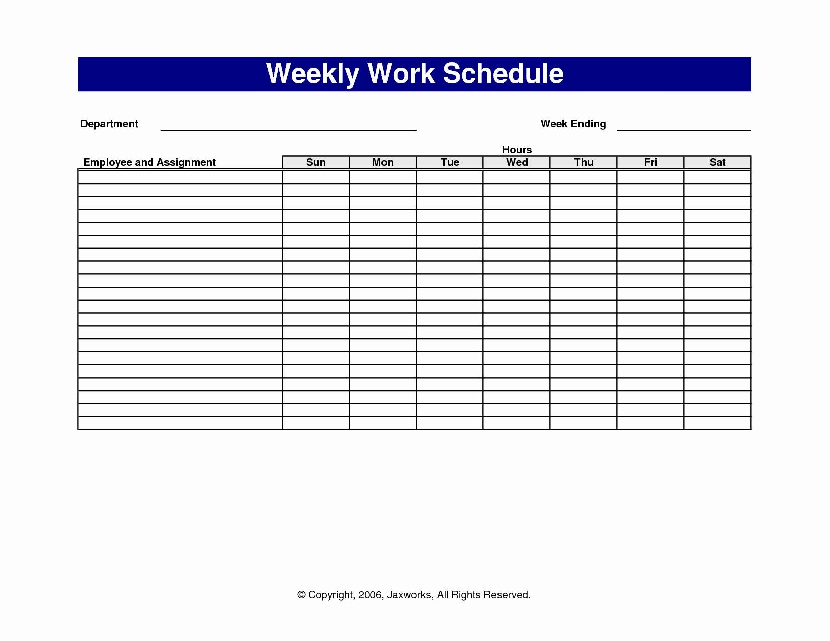 Printable Blank Weekly Employee Schedule Template