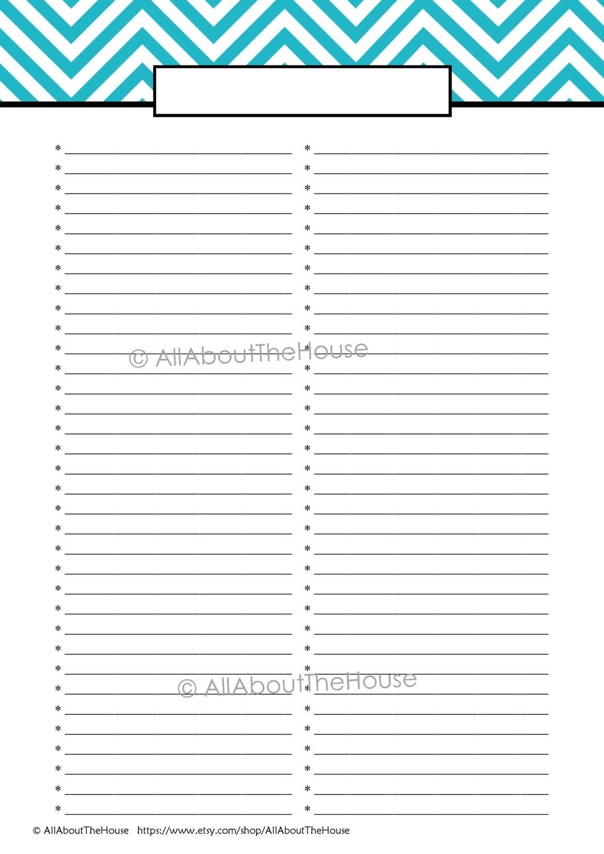 Blank Shopping List Template A4 Editable Template