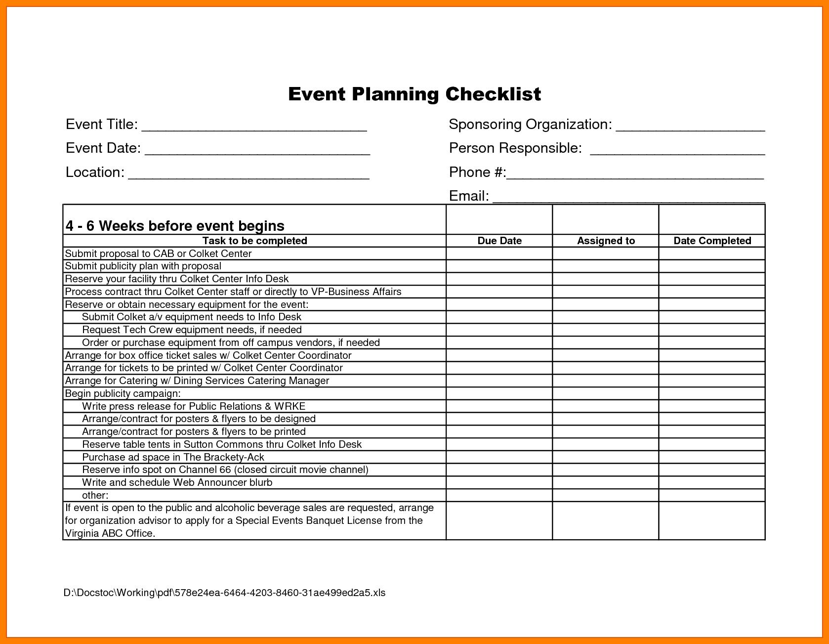 Event Planning Template Excel Free Template Calendar Design