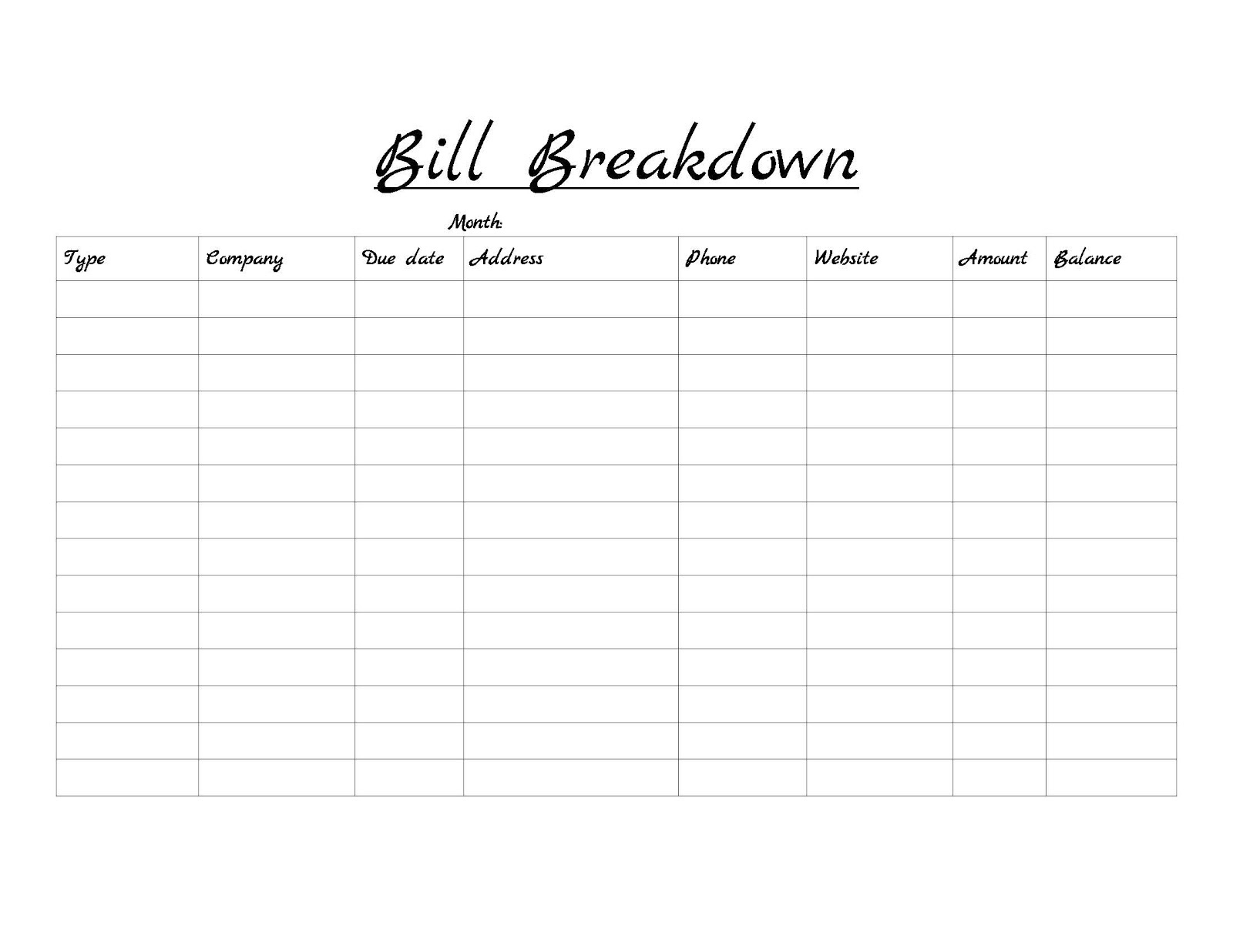 Personal Monthly Calendar Worksheet
