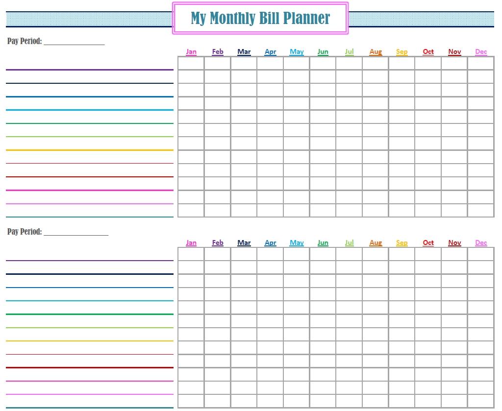 Free Printable Monthly Bill Tracker Template Calendar Design