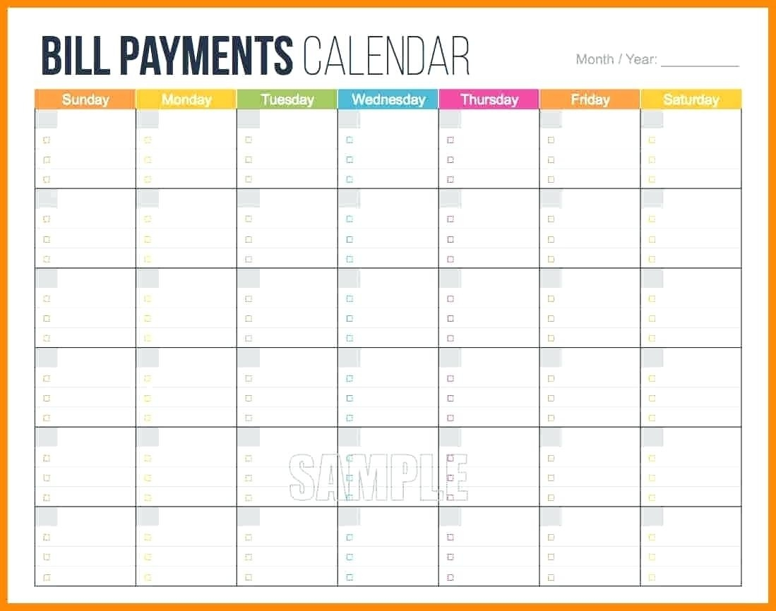 Monthly Bill Calendar Template Printable Template