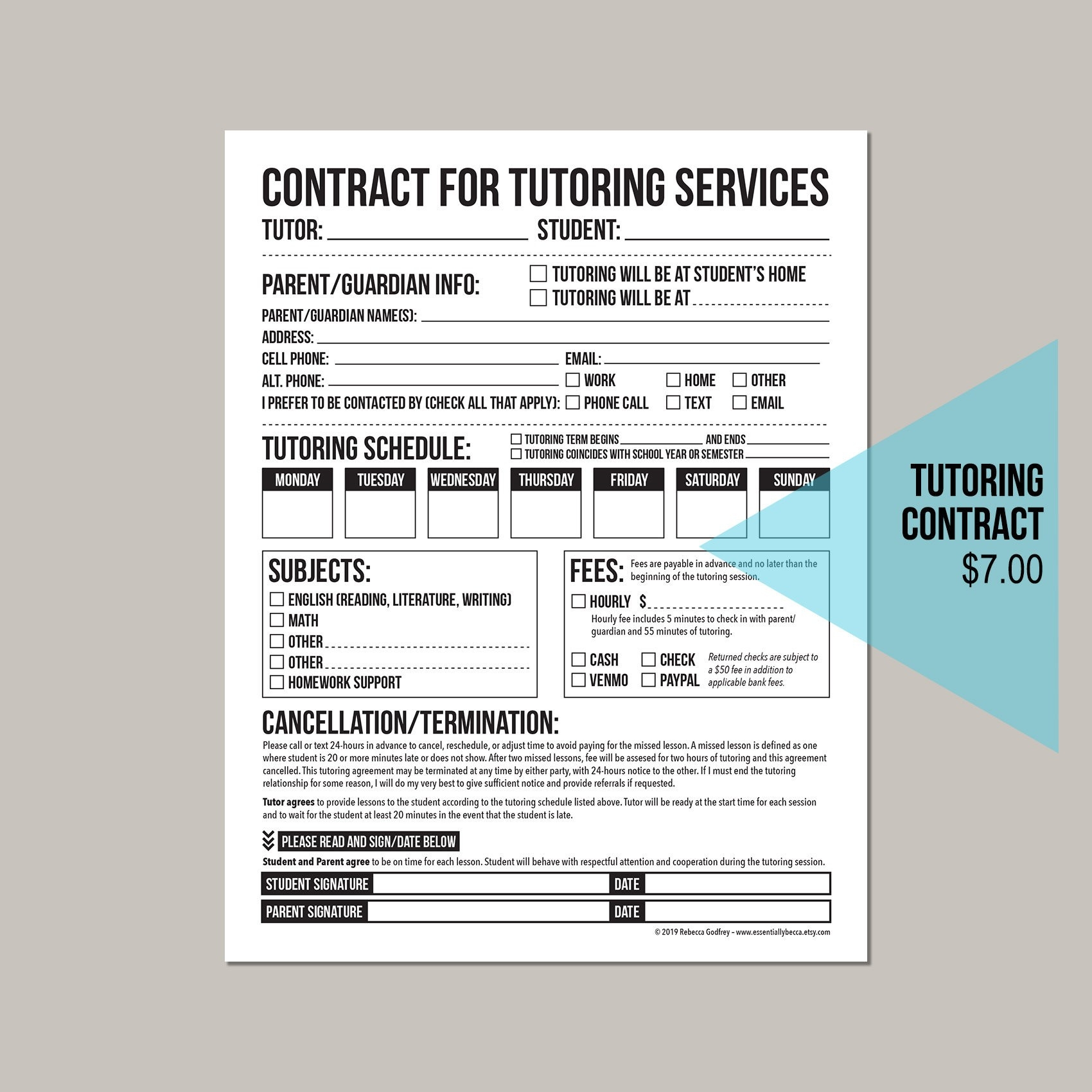 Tutor Session Payment Plan Contract Template Calendar Design