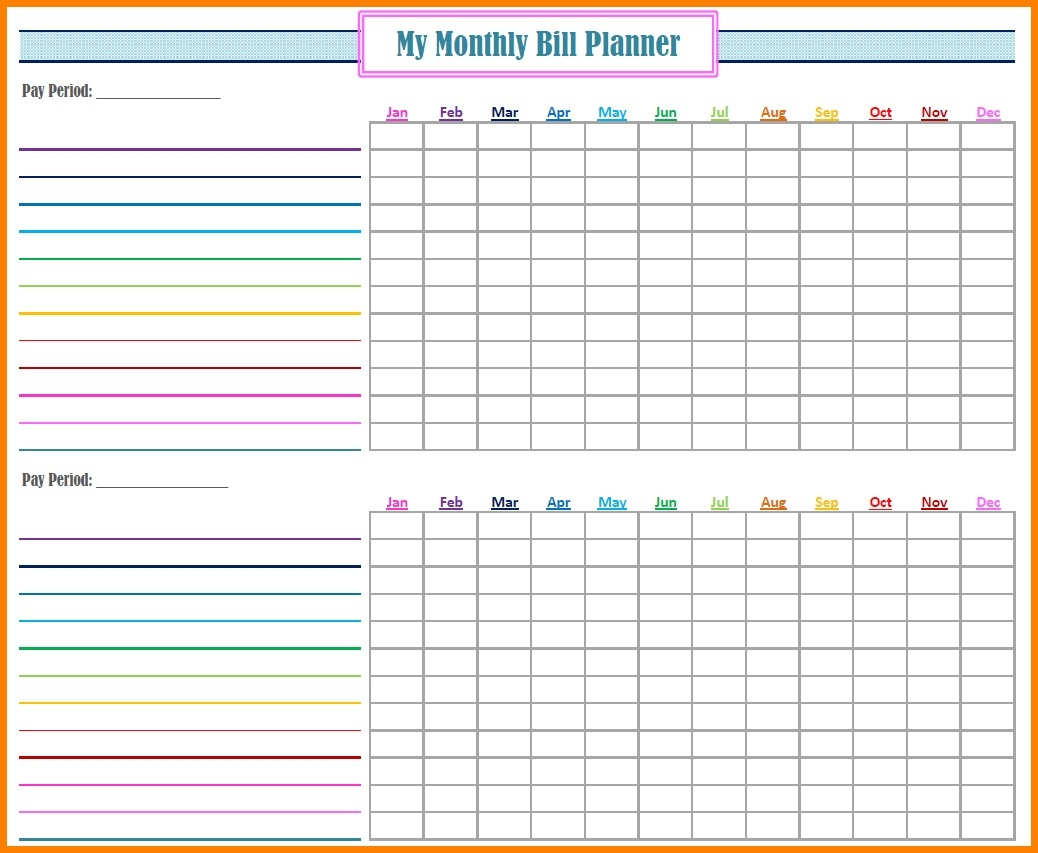Fillable Monthly Bill Payment Worksheet Template