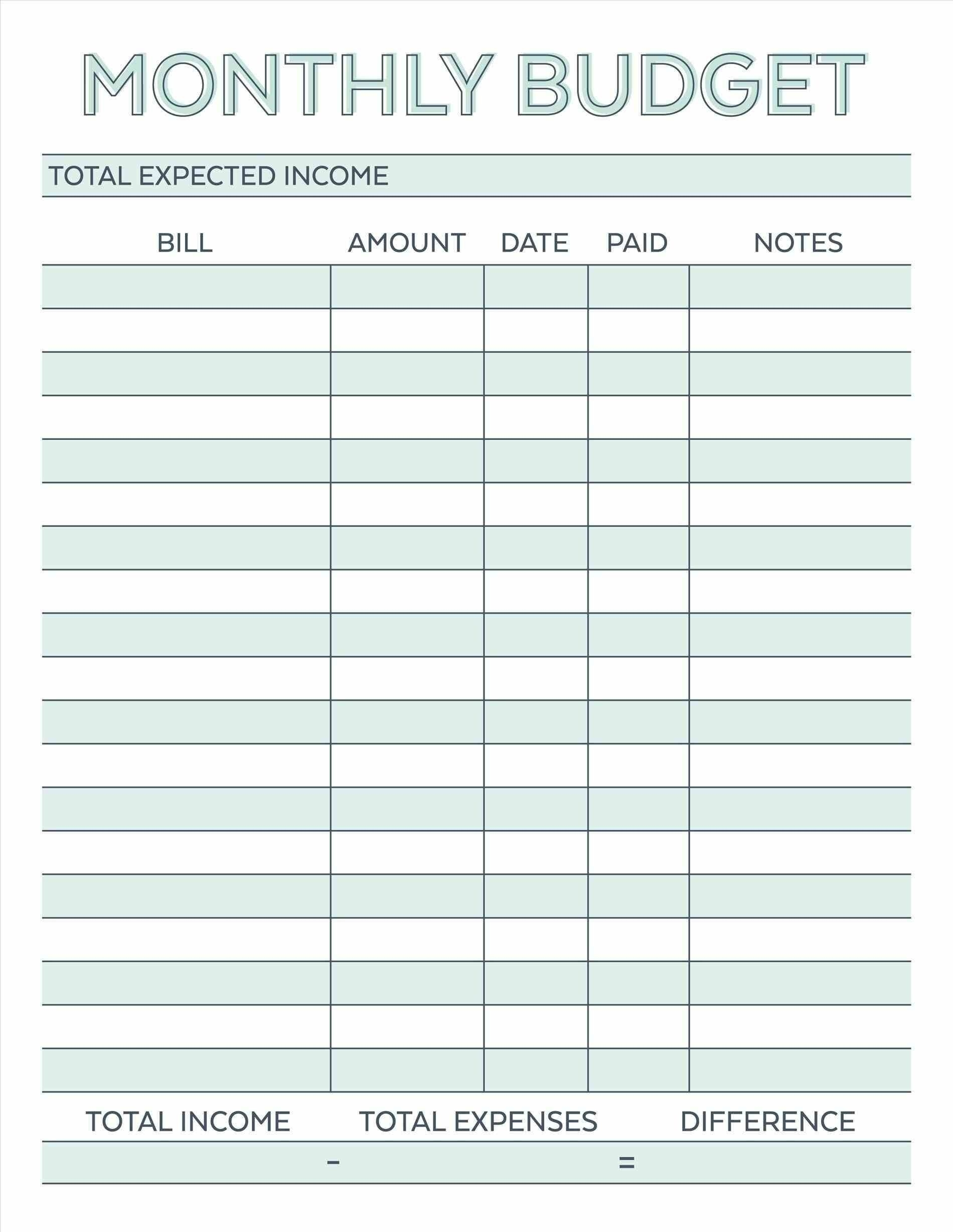 Monthly Bill Payment Worksheet Printable Template